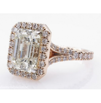 5.02ct Estate Vintage Emerald cut Diamond Halo Engagement Wedding 14k Rose Gold Ring