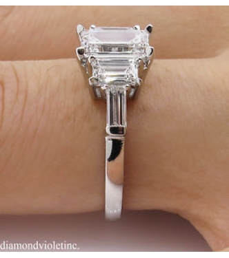 D Color!! GIA 1.85ct Estate Vintage Emerald Diamond 5 Stone Engagement Wedding Platinum Ring