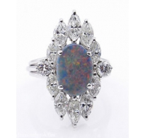 3.55ct Estate Vintage Lightening Ridge Black Opal Diamond Cluster Engagement Wedding 14k White Gold Ring