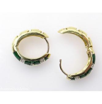 RESERVED...Estate Vintage Diamond Green Enamel Fleur De Lis Huggies Hoop Earrings 14k Yellow Gold