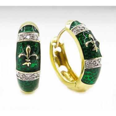 RESERVED...Estate Vintage Diamond Green Enamel Fleur De Lis Huggies Hoop Earrings 14k Yellow Gold