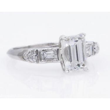 GIA 1.58ct Antique Vintage Emerald cut Diamond Engagement Wedding Platinum Ring