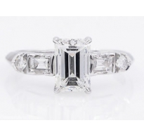 GIA 1.58ct Antique Vintage Emerald cut Diamond Engagement Wedding Platinum Ring