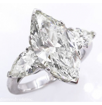 4.29ct Estate Vintage Marquise Diamond 3 Stone Engagement Wedding Platinum Ring