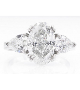 GIA 2.66ct Estate Vintage Oval Diamond 3 Stone Engagement Wedding Platinum Ring
