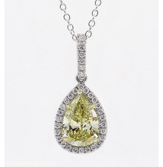 GIA 2.55ct Estate Vintage Fancy Yellow Pear Diamond Platinum 18k Yellow Gold Pendant Necklace