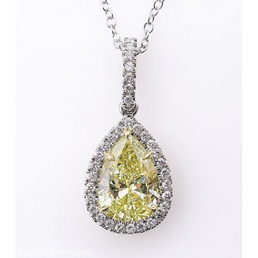 GIA 2.55ct Estate Vintage Fancy Yellow Pear Diamond Platinum 18k Yellow Gold Pendant Necklace