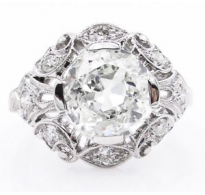 GIA 2.01ct Antique Vintage Old European Diamond Engagement Wedding Platinum Ring