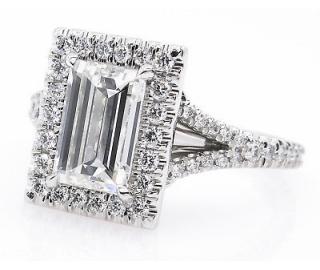 GIA 2.14ct Estate Vintage Carrè Emerald Diamond Halo Engagement Wedding Platinum Ring