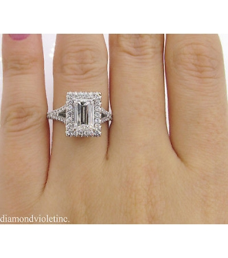 GIA 2.14ct Estate Vintage Carrè Emerald Diamond Halo Engagement Wedding Platinum Ring
