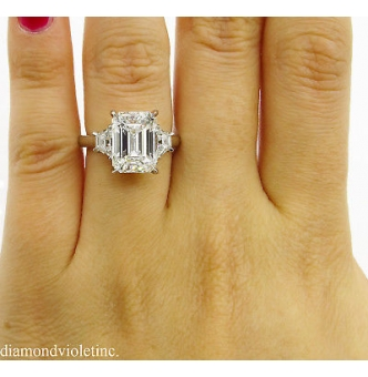 RESERVED... GIA 4.67 ct Estate Vintage Emerald Diamond 3 Stone Engagement Wedding Platinum Ring