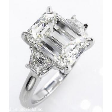 GIA 4.67 ct Estate Vintage Emerald Diamond 3 Stone Engagement Wedding Platinum Ring
