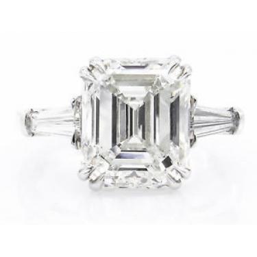 GIA 5.62ct Estate Vintage Emerald cut Diamond Engagement Wedding Platinum Ring