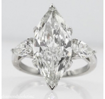GIA 5.24ct Estate Vintage Marquise Diamond 3 Stone Engagement Wedding Platinum Ring