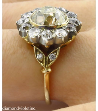 4.21ct Antique Vintage Old Mine Diamond Cluster Engagement Wedding 18k Yellow Gold Ring