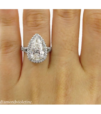 GIA 3.89ct Estate Vintage Pear Diamond Halo Engagement Wedding Platinum Ring