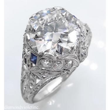 GIA 3.76ct Antique Vintage Old European Diamond Engagement Wedding Platinum Ring