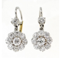 3.50ct Antique Vintage Old European Diamond Drop Earrings Platinum 14k Yellow Gold EGL USA