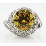GIA 7.11ct Estate Vintage Fancy Yellow Round Diamond 14k White Gold Ring