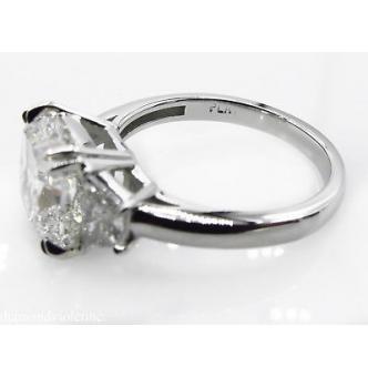 GIA 3.55ct Estate Vintage Cushion Diamond 3 Stone Engagement Wedding Platinum Ring