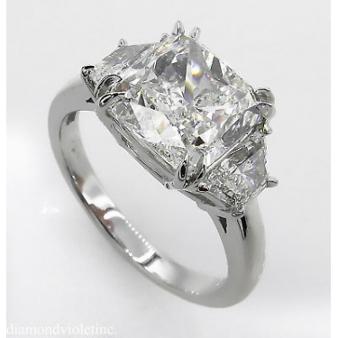 GIA 3.55ct Estate Vintage Cushion Diamond 3 Stone Engagement Wedding Platinum Ring