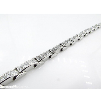 9.25ct Estate Vintage Princess Diamond Tennis Channel set Bracelet Platinum