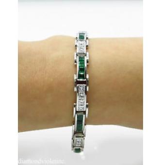 9.10ct Estate Vintage Princess Diamond Green Emerald Tennis Channel set Bracelet Platinum
