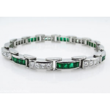 9.10ct Estate Vintage Princess Diamond Green Emerald Tennis Channel set Bracelet Platinum