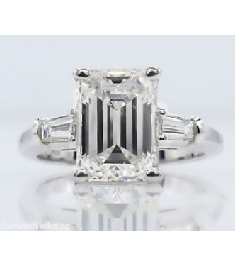 GIA 3.49ct Estate Vintage Emerald cut Diamond Engagement Wedding 18k White Gold Ring