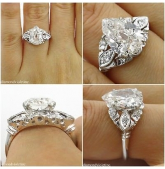 GIA 3.08ct Antique Vintage Old Mine Pear Diamond Engagement Wedding Platinum Ring
