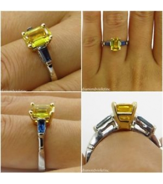 GIA 2.06ct Estate Vintage Yellow Blue Sapphire Engagement Wedding Platinum/18k Ring