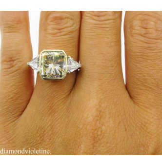 6.06ct Estate Vintage Radiant Diamond 3 Stone Engagement Wedding Platinum/18k Ring EGL USA