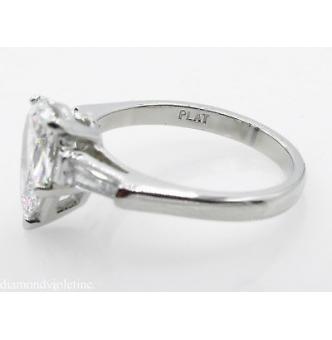 GIA SHY 2.00ct Estate Vintage COLORLESS Pear Diamond Engagement Wedding Platinum Ring