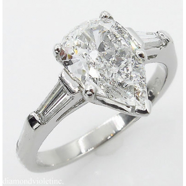 GIA SHY 2.00ct Estate Vintage COLORLESS Pear Diamond Engagement Wedding Platinum Ring