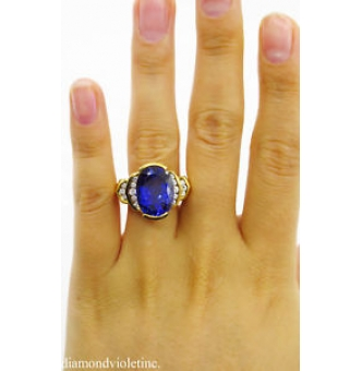 GIA 8.20ct Estate Vintage Tanzanite Diamond Engagement Wedding 18k Yellow Gold Ring