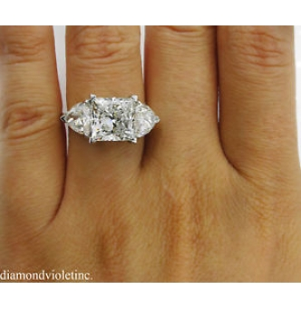 GIA 6.35ct Estate Vintage Princess Diamond 3 Stone Engagement Wedding Platinum Ring