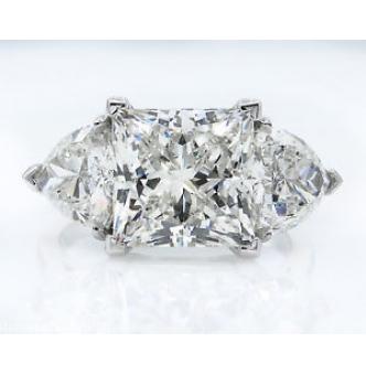 GIA 6.35ct Estate Vintage Princess Diamond 3 Stone Engagement Wedding Platinum Ring