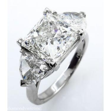 GIA 7.35ct Estate Vintage Princess Diamond 3 Stone Engagement Wedding Platinum Ring