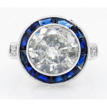 4.43ct Antique Vintage Art Deco Old European Diamond Engagement Wedding 18k White Gold Ring EGL USA