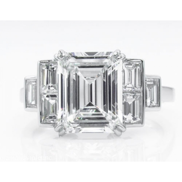 GIA 3.09ct Estate Vintage Emerald Diamond Engagement Wedding Platinum Ring