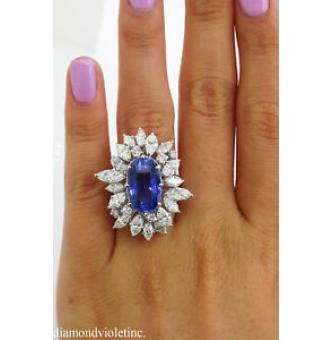 GIA 15.49ct Estate Vintage No Heat Blue Sapphire Diamond Engagement Anniversary Wedding Platinum Ring