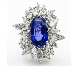 GIA 15.49ct Estate Vintage No Heat Blue Sapphire Diamond Engagement Anniversary Wedding Platinum Ring