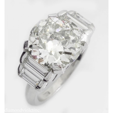 GIA 5.07ct Estate Vintage Old European Diamond Engagement Wedding 18k White Gold Ring