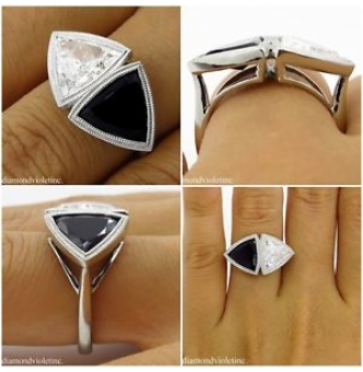 GIA 3.88ct Estate Vintage Crossover Bypass Diamond Onyx Engagements Wedding Platinum Ring