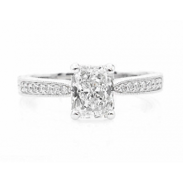 GIA SHY 2.00ct Estate Vintage Radiant Diamond Engagement Wedding Platinum Ring