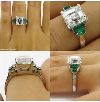 4.29ct Estate Vintage Asscher Diamond Engagement Wedding Platinum Ring EGL USA