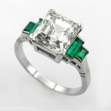 4.29ct Estate Vintage Asscher Diamond Engagement Wedding Platinum Ring EGL USA