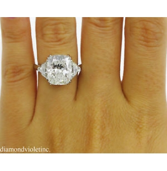 GIA 6.01ct Estate Vintage Cushion Diamond Three-stone Engagement Wedding Platinum Ring