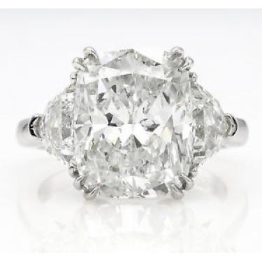 GIA 6.01ct Estate Vintage Cushion Diamond Three-stone Engagement Wedding Platinum Ring