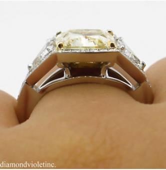 GIA 5.84ct Estate Vintage Fancy Yellow Cushion Diamond Three Stone Engagement Wedding Platinum Ring